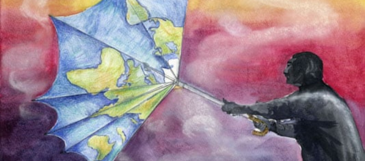 A piece of art by Charlotte Sullivan (13y.o, England) which won first prize for the Paint for the Planet competition held by UNEP. - Charlotte Sullivan, 13, England. Photograph: UNEP